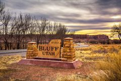 Welcome sign to Bluff in Utah stock photos