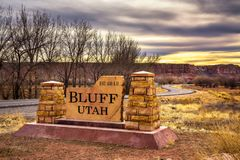Welcome sign to Bluff in Utah royalty free stock images