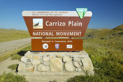 Welcome sign to Carrizo National Monument, the US Department of Interior, in Southern California near Soda Lake in spring Royalty Free Stock Photo
