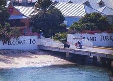 Welcome sign to Grand Turk island. Stock Photo