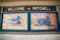 Welcome sign to Michell includes instruction of making duck of c Stock Images
