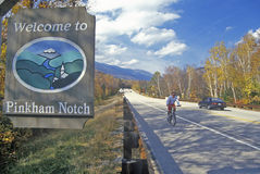 Welcome sign to Pinkham Notch, NH on Route 16 in White Mountains Royalty Free Stock Images