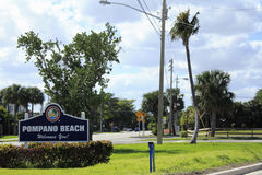 Welcome Sign to Pompano Beach, Florida. POMPANO BEACH, FLORIDA - FEBRUARY 1: Located between Miami and Palm Beach on the Gold Coast with about three miles of Royalty Free Stock Photo