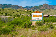 Historic Jerome Arizona. Welcome sign to the popular and historic small mountain town in Arizona Royalty Free Stock Photo