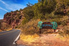 Welcome sign to Sedona royalty free stock images