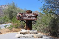 Welcome sign to Sequoia National Park, California Stock Photo