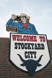 Welcome sign to the Stockyard city Royalty Free Stock Image