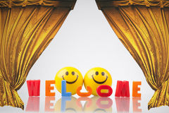 Welcome sign with two smileys and theatrical curtains Royalty Free Stock Photo