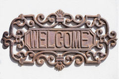 Welcome sign on wall Royalty Free Stock Images