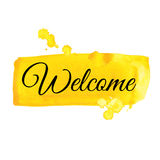 Welcome sign. Watercolor illustration. Stock Photos