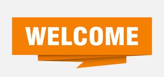Welcome. Sign.  paper origami speech bubble.  tag.  banner vector illustration