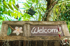 Welcome sign on wood. Stock Photo
