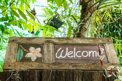 Welcome sign on wood. Stock Photography