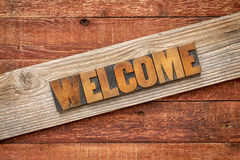 Welcome sign in wood type Stock Photos