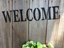 Welcome sign on wooden wall Royalty Free Stock Photo
