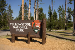Welcome Sign Yellowstone National Park NPS Wyoming Royalty Free Stock Photography