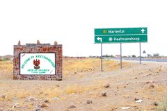 Welcome signage Keetmanshoop Mariental, Namibia. Welcome sign and direction signs to keetmanshoop and Mariental along the road,  Keetmanshoop, Namiba Royalty Free Stock Images