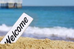 Welcome Signboard on the Sea Beach Stock Photography