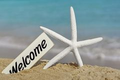 Welcome Signboard on the Sea Beach Stock Images