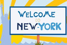 welcome signboard to New-York Stock Photography