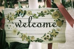 Welcome signboard Stock Photo