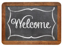 Welcome on slate blackboard Royalty Free Stock Photo
