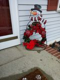 Welcome Snowman Wreath. Winter Christmas Decorations Royalty Free Stock Photography
