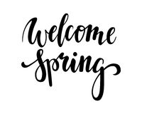 Welcome Spring. Hand drawn calligraphy and brush pen lettering. design for holiday greeting card and invitation Royalty Free Stock Photos