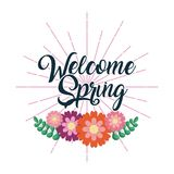 Welcome spring handwriting card flower celebration. Vector illustration Stock Photography