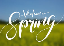 Welcome spring handwriting lettering design on blurry blossom field landscape. Stock Photography