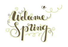 Welcome spring lettering Stock Photo
