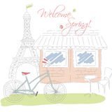 Welcome spring in Paris postcard, hand drawn Royalty Free Stock Photography