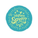 Welcome spring. Round stamp of turquoise color with a yellow inscription vector illustration