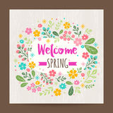 Welcome spring season, floral illustration background. Welcome spring season, floral illustration on wood texture background Royalty Free Stock Photography