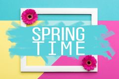 Spring time floral flat lay minimalism greeting card. Welcome Spring Themed Pastel Coloured Background. Spring time floral flat lay minimalism greeting card Royalty Free Stock Photography
