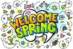 Welcome, Spring word bubble. Message in pop art comic style Stock Photography