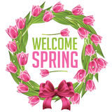 Welcome spring wreath with tulips vector illustration