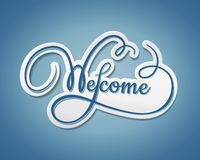 Welcome sticker with swirling text Royalty Free Stock Images