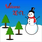 Welcome 2017 subtitles with snowman and pine trees Stock Photos