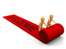Welcome Success. 3d people unrolling a red carpet with the word welcome on it Royalty Free Stock Photography