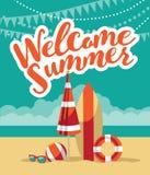 Welcome summer fun flat design. Stock Photos