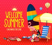 Welcome Summer Fun Under the Sun Poster with Umbrella, Surfboard. Flamingo, Toucan, Watermelon, Beachball, Sunglasses, Seashell, Slippers  and Hot Air Balloons Stock Photos