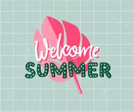 Welcome summer hand drawn tetx and tropical leaf. Pink and green summer art for cards, social media and t-shirt prints Stock Image