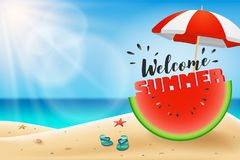 Welcome summer lettering on watermelon sliced under an umbrella Stock Photography