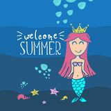 Welcome summer by mermaid. Creative cute drawing holiday background. Fun creature character royalty free illustration