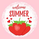 Welcome summer poster with strawberry. Vector. Stock Photo