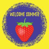 Welcome summer poster with strawberry. Vector. Royalty Free Stock Images