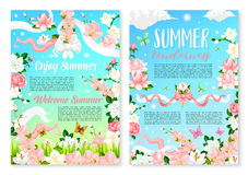 Welcome Summer poster template with flowers Stock Photography