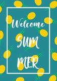 Welcome summer season pineapple poster vector illustration