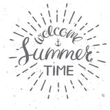 Welcome summertime poster. Welcome summer time card, vector vintage style illustration for summer holidays Royalty Free Stock Photo
